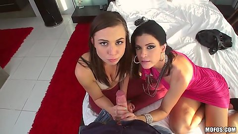 Pov blowjob with Aidra Fox and India Summer fully clothed striptease lessons