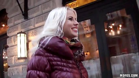 Fully clothed Lynna Nilsson walking on the street and pickedup for private show