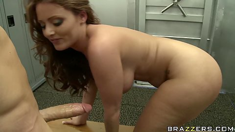 Sophie Dee sucking cock in the banks private room