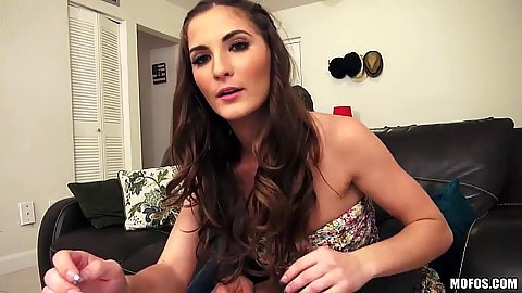 Brunette Molly Jane turns on the webcam for a great show