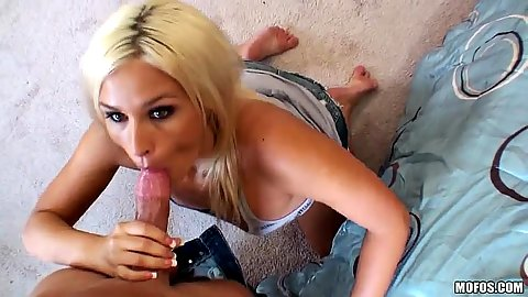 Kinky blonde clothed blowjob with Kaycee Brooks