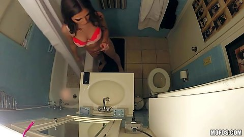 Voyeur hidden camera with Molly Jane in her bras and panties