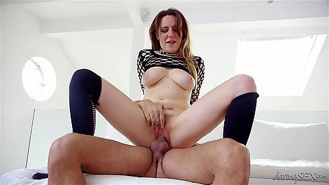 Reverse cowgirl hair rough sex with fishnet whore Samantha Bentley