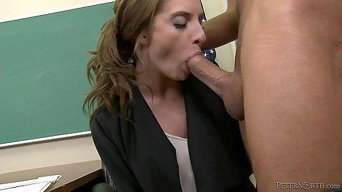 Enticing milf Jessy Jones sucking and sex in teachers desk in class