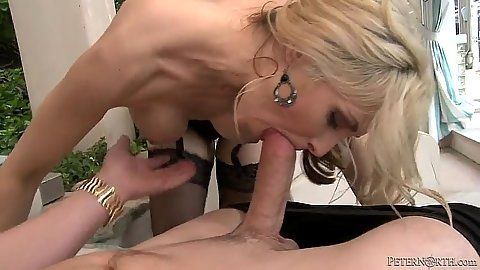 Blonde blowjob with lingerie and sideawys hairy milf fuck Sarah Vandella