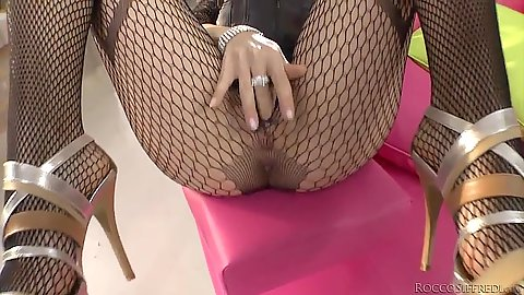 Fantastic fishnet and lingerie pov blowjob with slut Norma Jane