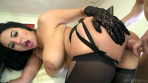 Big natural breasts latina Missy Martinez bending over to receive a dick