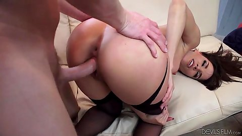 Doggy style hardcore sex with stockings small tits flexible skank Dana DeArmond