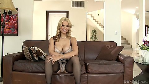 Blonde lingerie behind the scenes interview Sarah Vandella