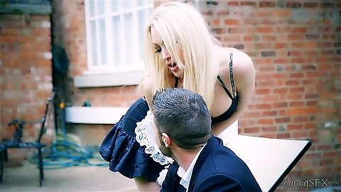 Blonde outdoor Tamara Grace in bras and panties makesout with guy in suit Tamara Grace
