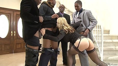 Kiny milf in stockings engaged in nice interracial gang bang Sarah Vandella