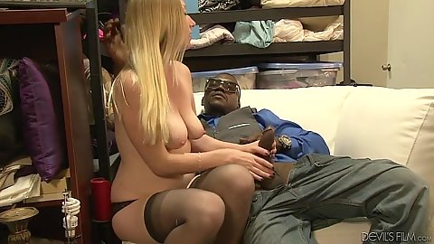 Hot blonde Tegan Riley interracial blowjob with deep mouth entry