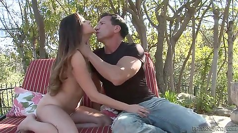 Latina petite cutie Zoey Foxx pulls mans dick from hsi jeans and sucks outdoors