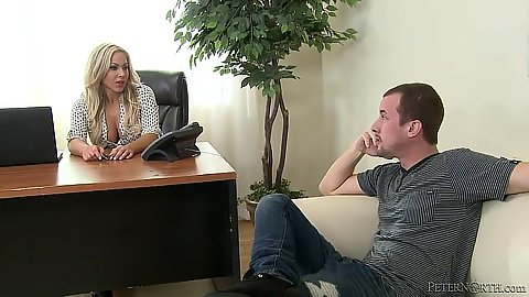 Office meeting with miniskirt blonde Olivia Austin
