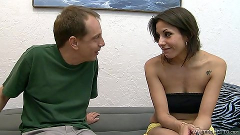 Arousing petite Katrina Zova spreads legs for man