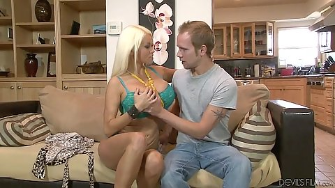Undressing busty blonde milf and digging into her shaved cunt Nikita Von James