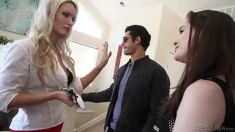 Blonde milf and teen make out in their clothes Savannah Snow