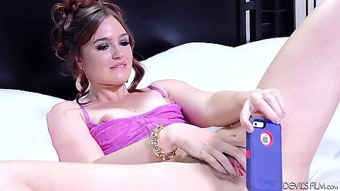 Jodi Taylor taking a selfie of her pussy and then inserts dildo