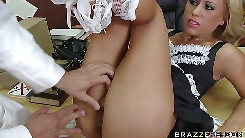 Blonde slutty maid sucks some cock on the floor