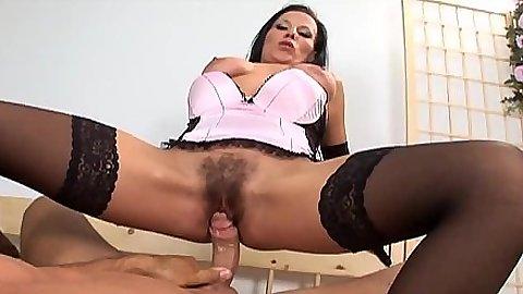 Stockings cowgirl hairy brunette Simone B