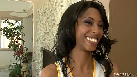 Good looking ebony cheerleader Adriana Malao enjoys a hairy twat eating