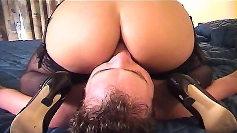 Ass licking in stockings with femdom face sitting femdom slut