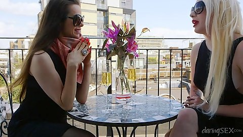 Willing public Valerie Fox and Amica Bentley are two milfs engaged in lesbian fun and threesome