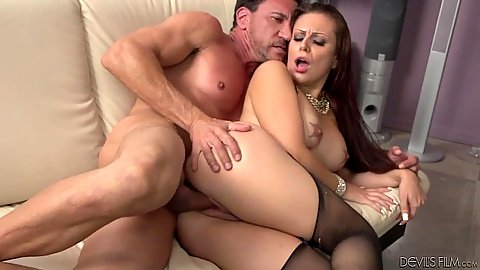 Stockings sideways sex and a blowjob close up after with Tori Avano