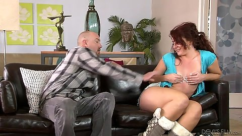 Redhead Savannah Fox opening her shirt and does a nice young blowjob