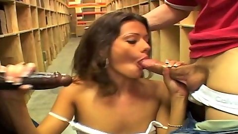 Playful Allura Bond doing two cock sin mouth blowjob with sex