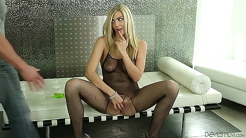 Girl in fishnet suit with natural saggy tits looks pretty Amanda Tate