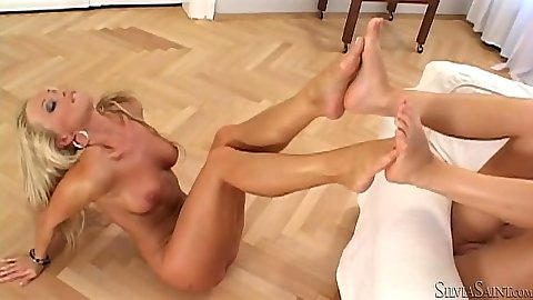 Silvia Saint and Denisa B doing a fett play and eating their toes lesbians