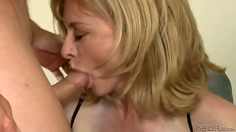 Lovely mature blowjob and lingerie fuck with Nina Hartley