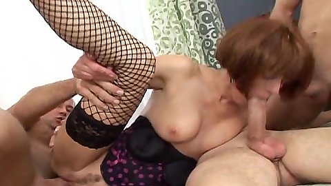 Group pumping a fishnet mature redhead Sugar