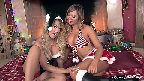 Destiny Dixon and Capri Cavanni xmas special girls stripping naked by the fireplace