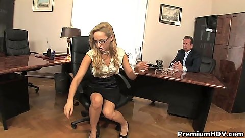 Fully clothed blonde Aleska Diamond moving down to fuck her boss