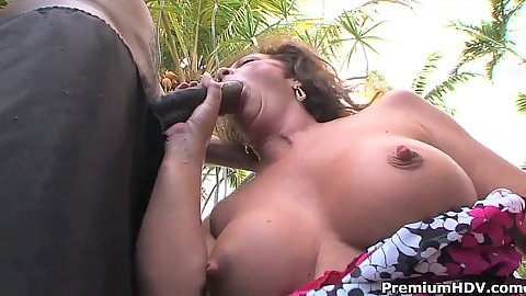 Big juggs interracial outdoor monster cock blowjob from milf Margo Sullivan