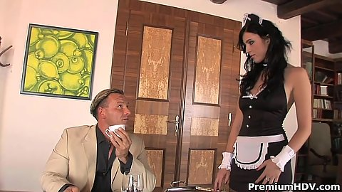 Maid in uniform Stracy Stone doing something extra as a job