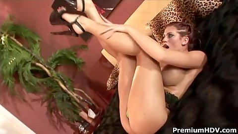 Foxy busty Eve Laurence gets her body all oily and then does cock sucking and jerking