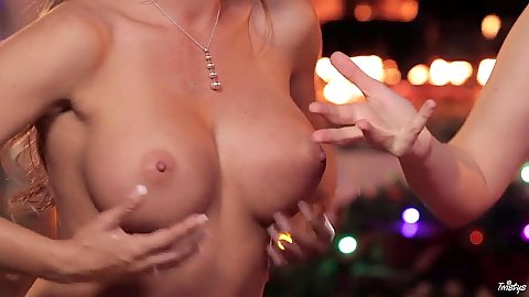 Gorgeous lesbian babes go topless for interview special