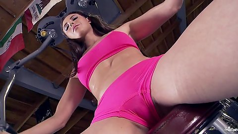 Casey Calvert working out wearing sexy shorts then gets touched