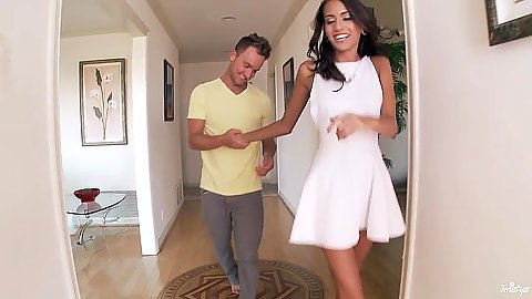 Lovely brunette Janice Griffith comes in fully clothed then lets man undress her