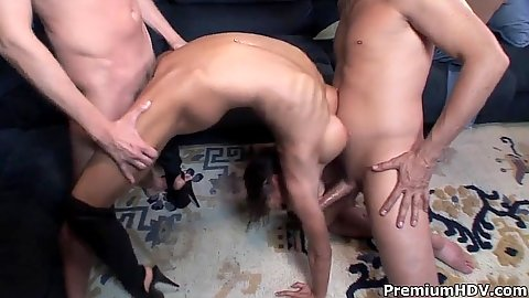 Playful and flexible whore Vanessa Lane filled in gang bang with unloading on face