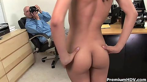 Mimi Allen latina naked in the office getting photos taking by guy