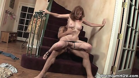 Reverse cowgirl bouncing girl Ginger Blaze on the stairs action
