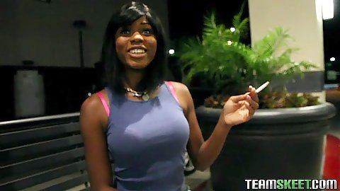 Ebony babe having a smoke and picked up for some fun Karma May