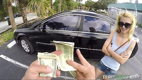 Kinky blonde Lilli Dixon offered cash on the street for a public pick up and car handjob