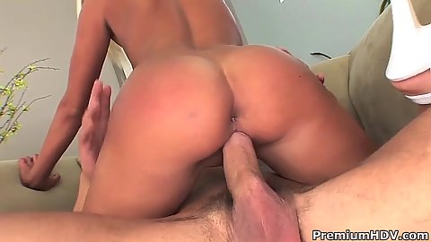 Charming cowgirl and sucking balls with anal after from all natural Riley Evans