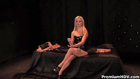 Splendid blonde in great fetish outfit with Angela Stone