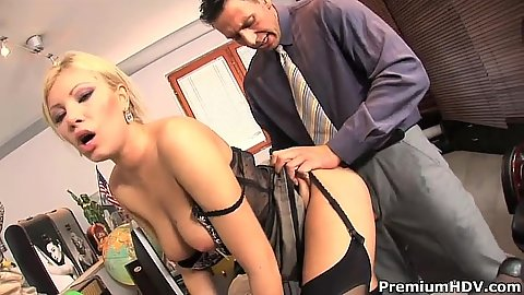 Inimate office lingerie touching and blowing the boss with Donna Bell